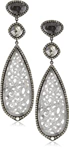 Sutra One of a Kind 18k Gold Grey Jade and Black Diamond Earrings