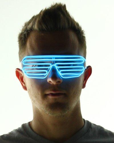 Light Up Shutter Shades Glasses (Blue)