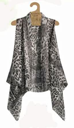 Accents by Lavello Sheer Designer Vest, Charcoal, Leopard Print CHL at