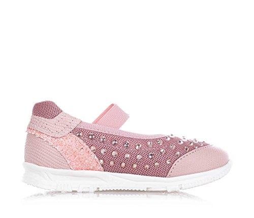 FLORENS - Ballerina rosa in pelle e tessuto, con fascia elasticizzata, strass decorativi, cuciture a vista e suola in gomma, Bambina, Ragazza-23