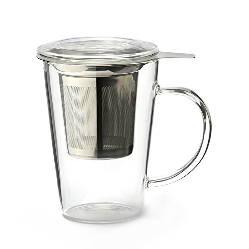 Clear Tea Mug (Borosilicate glass (body and lid), fine-mesh stainless steel infuser, 450ml)
