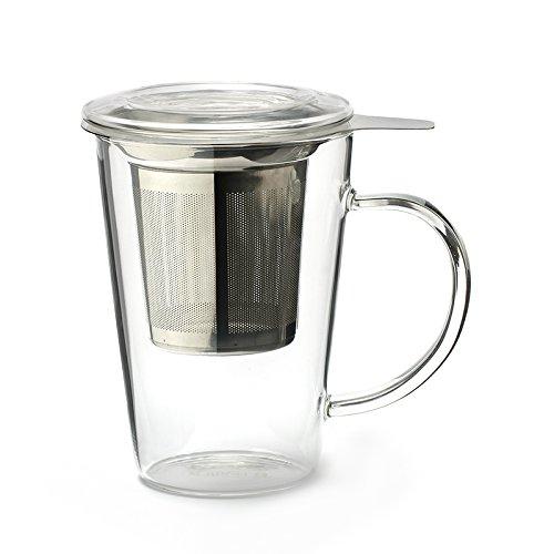 Clear Tea Mug (Borosilicate glass (body and lid), fine-mesh stainless steel infuser, 450ml)