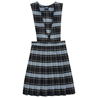 French Toast School Uniforms V-Neck Pleated Plaid Jumper blue gold plaid 4