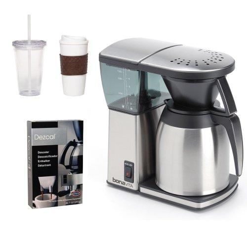 Bonavita BV1800TH 8-cup Coffee Maker w/ Thermal Carafe + Coffee Mug & Iced Beverage Cup + Coffee/ Espresso Descaler