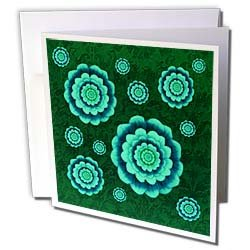 Jaclinart Fantasy Mandala Flowers Floral Damask Grunge Aqua and rich blue fantasy mandala flowers on forest green muted damask background Greeting Cards 12 Greeting Cards with envelopes