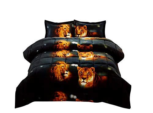 3 Piece Set Box Stitched Lion Pride Prints 3d Comforter Set (Y15) King King