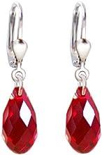 925 pendientes de plata con cristales SWAROVSKI Cristal Siam Briolette, rojo