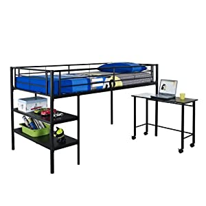 WE Furniture Twin Loft Bed with Desk and Shelves, Black from Walker Edison