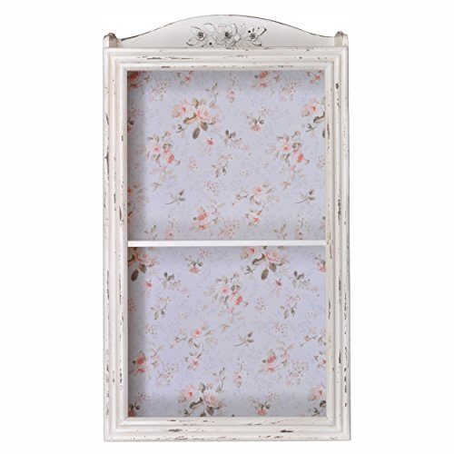 Distressed Wooden Two Tier Wall Cabinet / Wall Shelf (Distressed Cream)