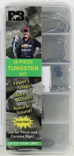 Rockybrook Sinkers 36 pc Tungsten Fishing Weight Kit, Carolina and Texax Rigs, Lead-Free, Made in USA