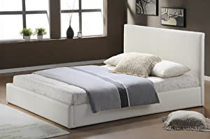 Large genuine bonded leather sleigh bed in colour white sizes  63x79 in (160x200cm) hotel beds frames upholstered bed bases designs with headbord, slatted bed and legs in stock       review and more information