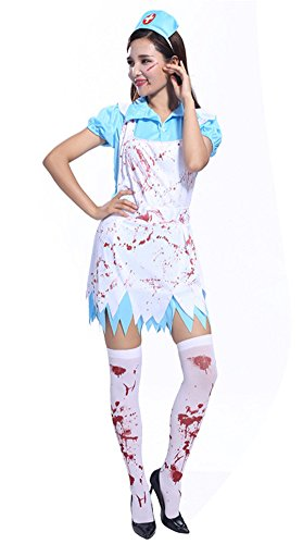 Womens Halloween Costumes Zombie Cosplay Bloody Nurse Suit (free size, blue) (Sexy Zombie Nurse Costume)