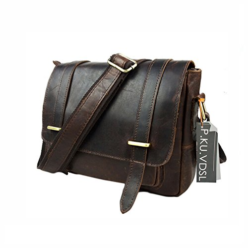P.KU.VDSL Messenger Shoulder Bag Genuine Retro Crazy Horsehide Leather Briefcase Business Bags For Women or Men (Chocolate) (Messenger Bag Jack Bauer compare prices)