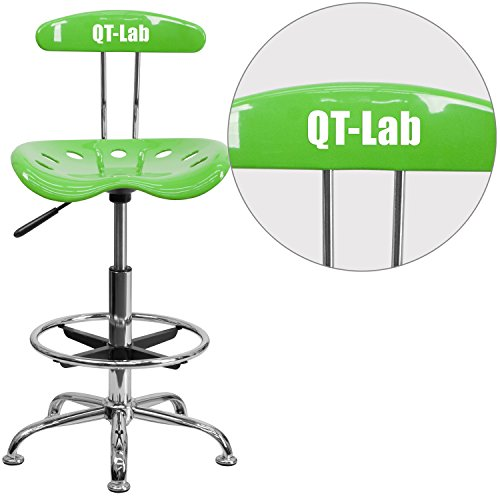 """Personalized Vibrant Apple And Drafting Stool With Tractor Seat Green/Chrome/20""""L x 17.25""""W x 41""""H"""