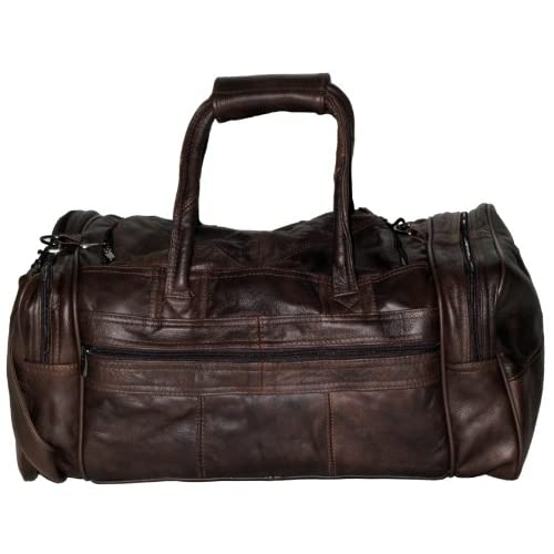 MENS LEATHER HOLDALL LUXURY TRAVEL BAG GYM SPORTS BAG LADIES FLIGHT BAG CABIN BAG WEEKEND BAG IN BROWN