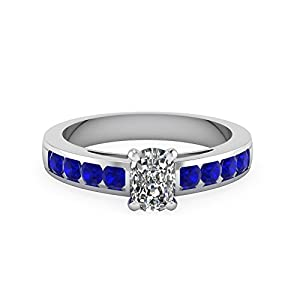 1.50 Carat Cushion Cut Diamond & Blue Sapphire Gemstone 14K Gold Engagement Ring GIA (J Color,I1 Clarity)