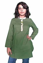 Miraaya Women's Cotton Kurta (Green, S)