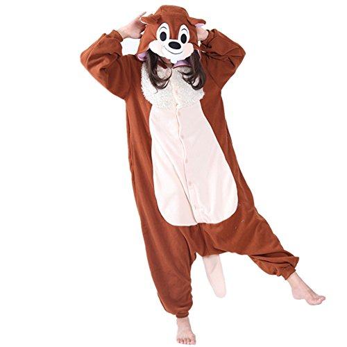 JOYHY Adult's Animal Halloween Cosplay Costume Pajamas Onesie Kigurumi Brown Squirrel (Plus Size Squirrel Costume)