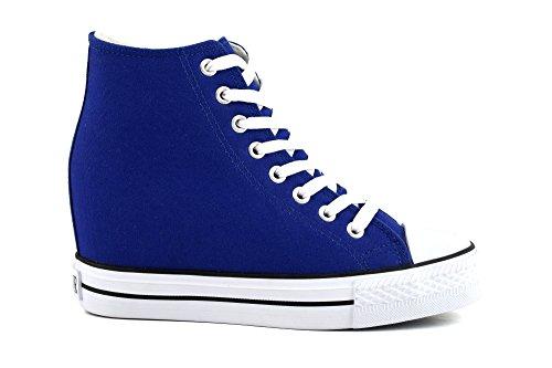 CAFÈ NOIR Sneaker donna running blu con zeppa interna P/E 2016 cod. DG900 (36)