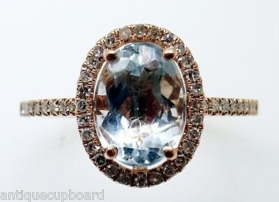 14k Rose Gold 1.25ct Genuine Natural Aquamarine Ring With Diamonds (#3255)