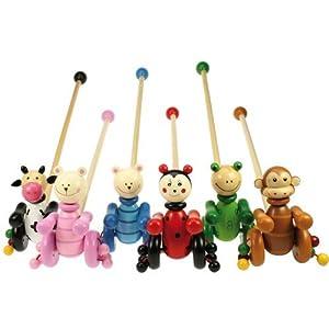 Bigjigs Toys BJ956 Animal Push Alongs (One Supplied - Designs Vary)