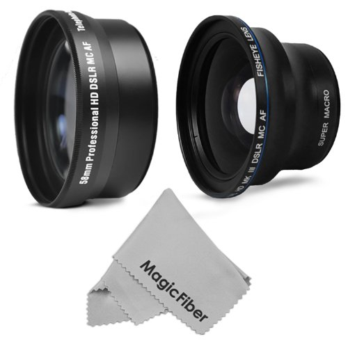 58Mm Essential Lens Kit For Canon Rebel (T5I T4I T3I T3 T2I T1I Xt Xti Xsi Sl1), Eos (700D 650D 600D 1100D 550D 500D 100D) Cameras - Includes: 58Mm 2.2X Telephoto Lens + 0.43X Wide Angle With Macro + Magicfiber Microfiber Lens Cleaning Cloth