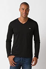 Long Sleeve Pima Jersey V-neck Tee-shirt