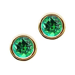 Carlo Bianca Rainforest 14K Yellow Gold Earrings Made With Swarovski Topaz