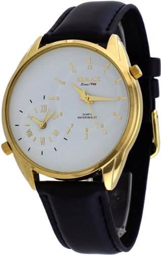 Omax #S002G321 Men'S Leather Band Gold Tone White Dial Dual Time Zone Watch