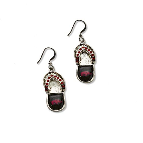 NCAA Arkansas Razorbacks Flip Flop Crystal Earrings at Amazon.com