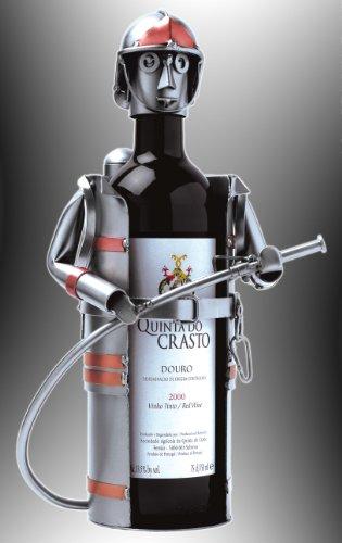 Weinflaschenhalter Feuerwehrmann - Metall Art Weinflaschen-Deko - handgefertigt!