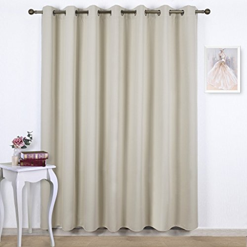 Nicetown Three Pass Microfiber Energy Smart Ring Top Thermal Insulated Wide Width Solid Blackout Curtains / Drapes (Single Panel,W100