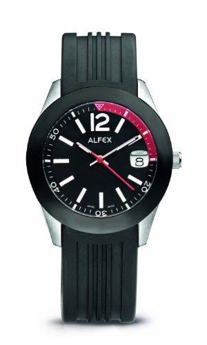 Alfex - 5648_694 - Montre Homme - Quartz Analogique - Cadran Noir - Bracelet Caoutchouc Noir