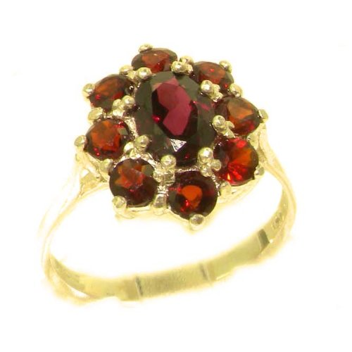 Luxury Ladies Solid 14ct Yellow Gold Natural AAA Grade Garnet Cluster Ring - Size M - Finger Sizes K to Y Available - Perfect Gift for Mum, Mother, Wife, Daughter, Grandaughter, Grandmother, Grandma, Bridesmaids, Best Friend, Aunty
