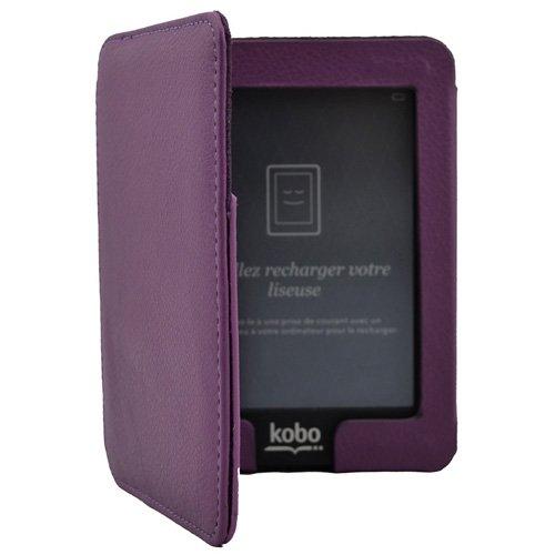 Violet Magnétique Housse Étui en Cuir Coque Pour eReader eBook Kobo Mini