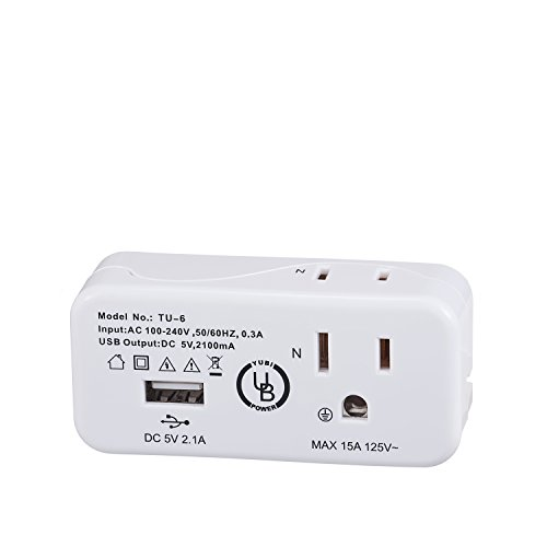 Yubi Power Dual Outlet Mini Travel Charger with 2.1A USB Port