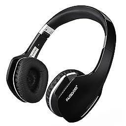 AUSDOM M07 Foldable On-Ear Wireless Bluetooth Headphones with Mic (Black)