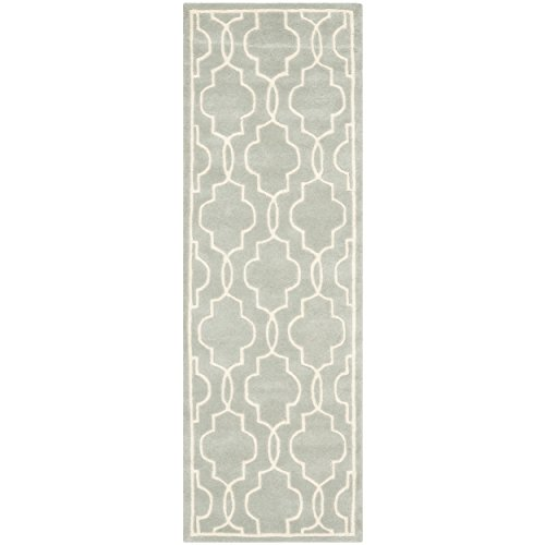 Safavieh Chatham Collection CHT723E Handmade Grey and Ivory Wool Runner, 2 feet 3 inches by 7 feet (2'3