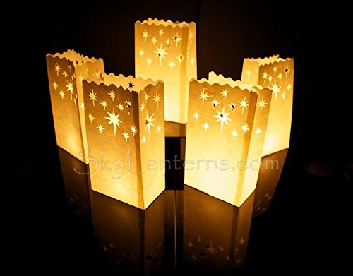 Candle Bags - Candle Luminary Bags (Pack of 10) - Night Stars Design