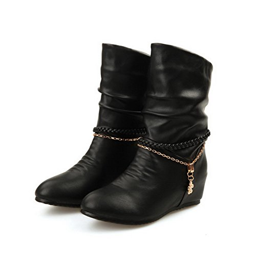 Voguezone009 Womens Closed Round Toe Kitten Heel Soft Material Short Plush Solid Boots With Metalornament, Black, 40