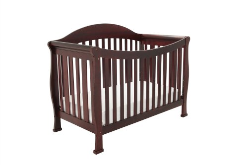 Athena Allie 3 in 1 Crib with Toddler Rail, Cherry