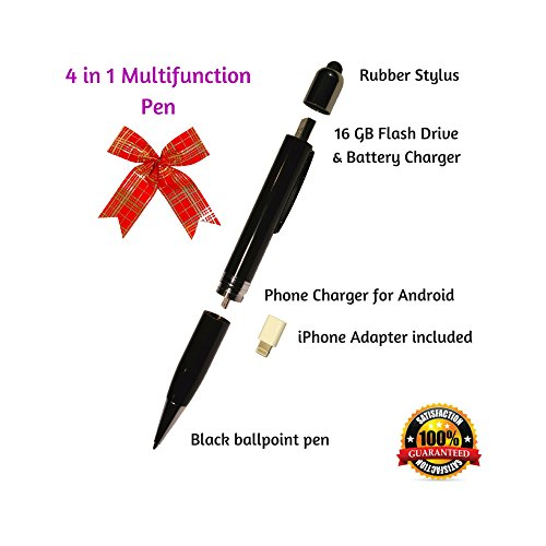 4 in 1 Multifunction Pen, Emergency Smartphone Power Charger, 16GB USB Flash Drive & Conductive Soft Rubber Stylus for Navigation (3in1 Iphone Charger compare prices)