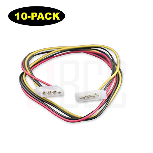 (10-Pack) BuyCheapCables® (2 Feet) 4-Pin Molex 5.25 Male to 5.25 Female DC Power Extension Cable