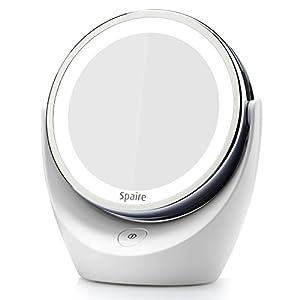 Spaire 360 °LED tournant allume miroir - lumineux zoom 5x Cliquez wireless Tour / salle de bain miroir (avec batterie)