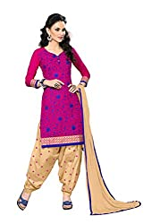 Dark Pink Embroidered Patiala Suit