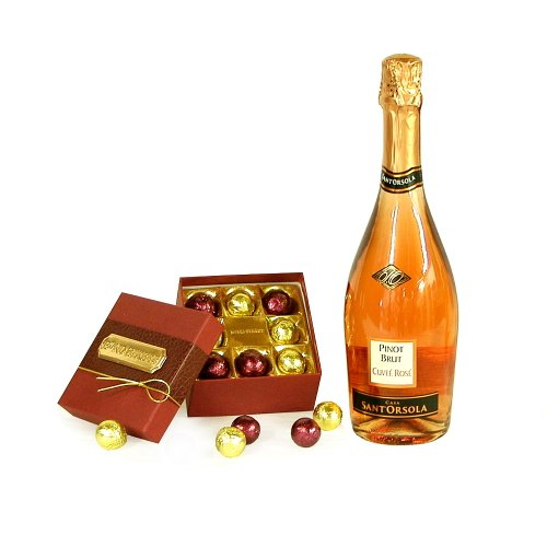 750ml Sant Orsola Sparkling Rose Wine with Luxury Bond Street Chocolate Truffles - Thank You, Wedding Anniversary, Christmas, Xmas, Corporate Hampers, Engagement Gifts, 18th 21st 30th 40th 50th 60th 70th 80th 90th Birthday Presents for Her Women Mum Him M