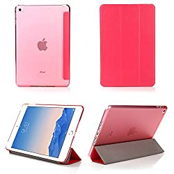 iPad Mini 4 Case - Bear Motion Premium Folio Case with Stand for Apple iPad Mini 4 (Support Smart Cover Function) - Hot Pink