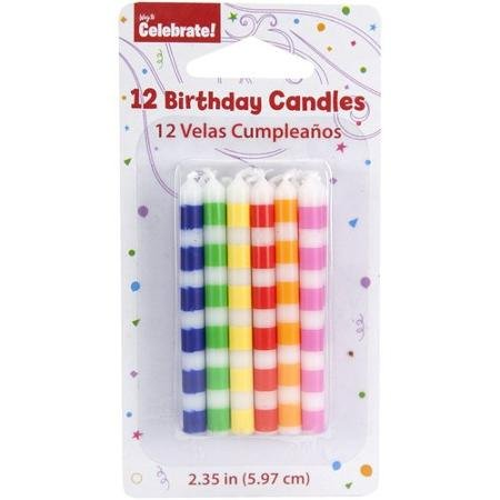 Way to Celebrate WM102201 Striped Candles, 12 count - 1