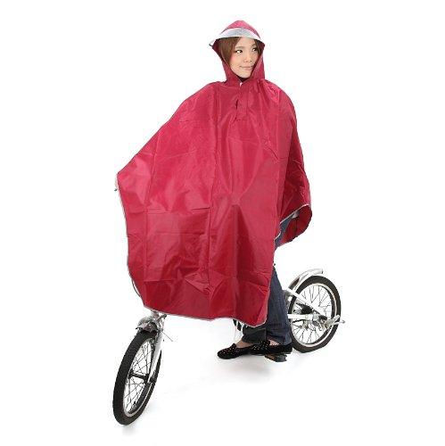 [Amagoo]自転車用 レインコート ポンチョタイプ カラー5色 【ブルー/レッド/イエロー/ネイビー/ピンク】 男女兼用 フリーサイズ (ワインレッド(赤))