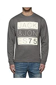 Jack & Jones Kendall - Sweat-shirt - Col ras du cou - Manches longues - Homme - Gris (Grey Mélange/Detail:Reg) - Small (Taille fabricant: S)